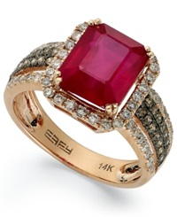 Effy Collection Red Velvet By Effy Ruby 3 3 4 Ct. T.W. And Brown Diamond 5 8 Ct. T.W. Emerald Cut Ring In 14K Rose Gold