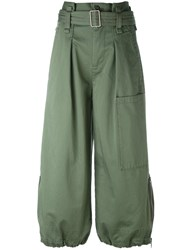 Marc Jacobs Belted Cargo Culotte Trousers Women Cotton 2 Green