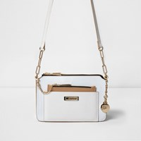 River Island White Pull Out Pouch Mini Cross Body Bag