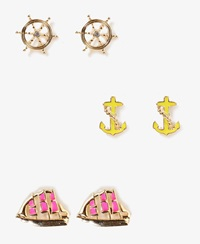 Forever 21 Nautical Stud Set Gold Hot Pink
