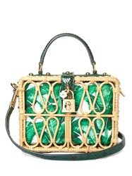 Dolce And Gabbana Banana Leaf Print Canvas Wicker Box Bag Green White