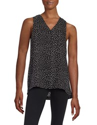 Lord And Taylor Petite Polka Dot Tank Black