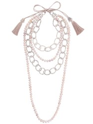 Night Market Pearl And Bead Layered Necklace Pearls Brass Pink Purple