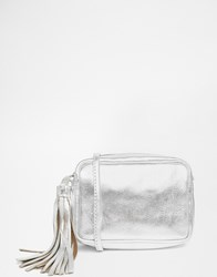 Asos Leather Cross Body Bag With Tassel Silver
