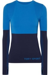Tory Sport Two Tone Stretch Knit Top Blue