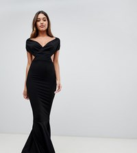Prettylittlething Off The Shoulder Cut Out Maxi Dress In Black