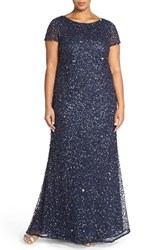 Plus Size Women's Adrianna Papell Embellished Scoop Back Gown Navy