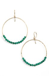 Women's Sonyarenee 'Leyla' Semiprecious Stone Hoop Earrings Green Onyx