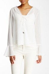 Lucy Paris Sheer Raised Polka Dot Blouse White