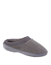 Isotoner Microterry Matte Satin Clog Slippers Gun Metal