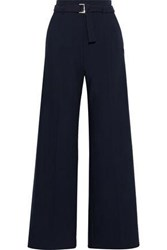 Maje Woman Parc Belted Crepe Wide Leg Pants Midnight Blue