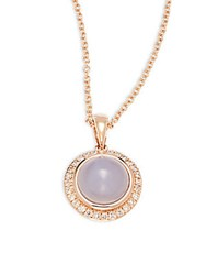 Effy Diamond Quartz Chalcedony And 14K Rose Gold Pendant Necklace