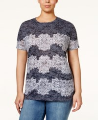 Inc International Concepts Plus Size Lace Trim Burnout T Shirt Only At Macy's Deep Twilight