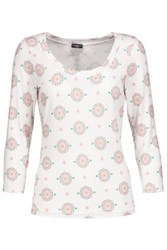 Cosabella Medallion Printed Stretch Jersey Pajama Top Off White
