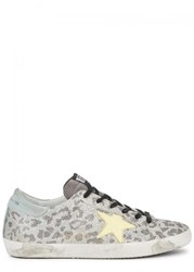 Golden Goose Deluxe Brand Leopard Print Glittered Suede Trainers