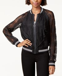Rachel Roy Lace Bomber Jacket Created For Macy's Black