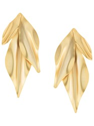 Mercedes Salazar Textured Leaf Earrings Gold
