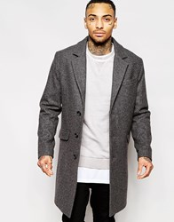 Asos Wool Overcoat In Dark Grey Lightgrey
