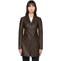 The Row Brown Leather Nedifa Coat