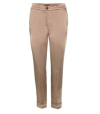 Etro Cropped Satin Trousers Green
