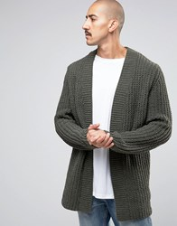 Asos Cardigan In Chenille Khaki Green
