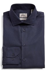 Armani Collezioni Men's Big And Tall Tonal Stripe Trim Fit Dress Shirt Navy