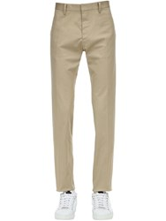 Dsquared 17Cm Cool Guy Stretch Cotton Twill Pants Beige
