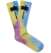 Palm Angels Tie Dyed Intarsia Stretch Cotton Blend Socks Multi