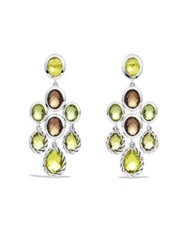 David Yurman Chandelier Earrings With Lemon Citrine Smoky Quartz And Peridot Silver