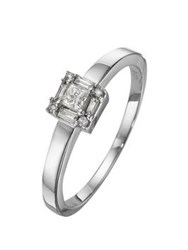 Love Diamond 9 Carat White Gold Princess Cut And Baguette 25Pt Ring