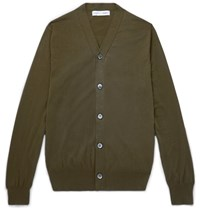 Comme Des Garcons Shirt Reverse Seam Cotton Cardigan Army Green