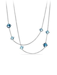David Yurman Chatelaine Long Station Necklace With Hampton Blue Topaz Blue Topaz And Diamonds