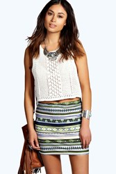 Boohoo Metallic Aztec Mini Skirt Multi