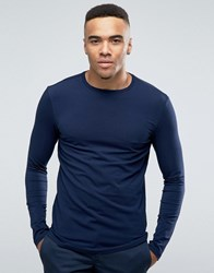 New Look Muscle Fit Long Sleeve Top In Navy Navy