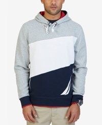 Nautica Men's Colorblocked Logo Hoodie Grey Heather