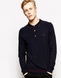Fred Perry Knitted Polo Shirt With Tipping Long Sleeve Blue