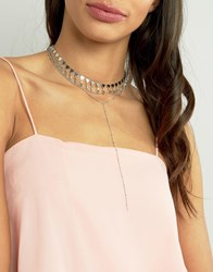 Asos Limited Edition Multi Row Bunting Toggle Choker Necklace Rhodium Silver