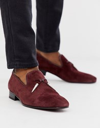 Jeffery West Jung Tassel Loafers In Burgundy Suede Red
