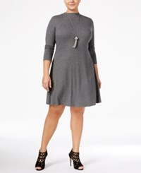 Love Squared Trendy Plus Size Mock Neck Sweater Dress Charcoal