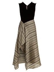 Roland Mouret Dursley Contrast Panel Sleeveless Dress Black Silver