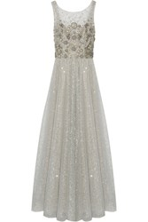 Marchesa Notte Embellished Tulle Gown Silver