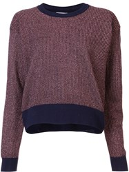 Tanya Taylor Metallic Knit 'Palm' Sweater Brown