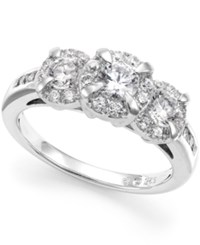 Macy's Diamond Three Stone Halo Ring 1 Ct. T.W. In 14K White Gold
