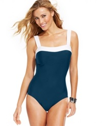 Inc International Concepts Contrast Trim One Piece Swimsuit Women's Swimsuit Navy White