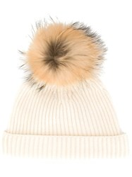 N.Peal Detachable Pompom Ribbed Hat White