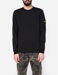 Stone Island Cotton Jersey Ls T Shirt In Black