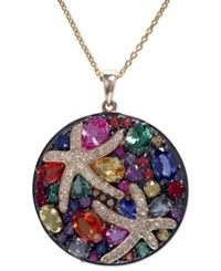 Effy Collection Watercolors By Effy Multicolor Sapphire 5 3 8 Ct. T.W. And Diamond 1 4 Ct. T.W. Starfish Pendant In 14K Gold