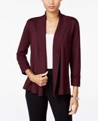 Jm Collection Ruched Open Front Cardigan Only At Macy's Merlot