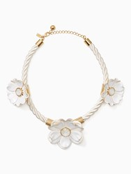 Kate Spade Bright Blossom Flower Statement Necklace White