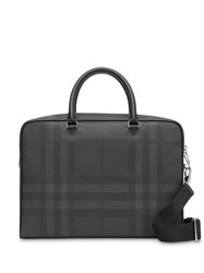 Burberry London Check And Leather Briefcase Grey